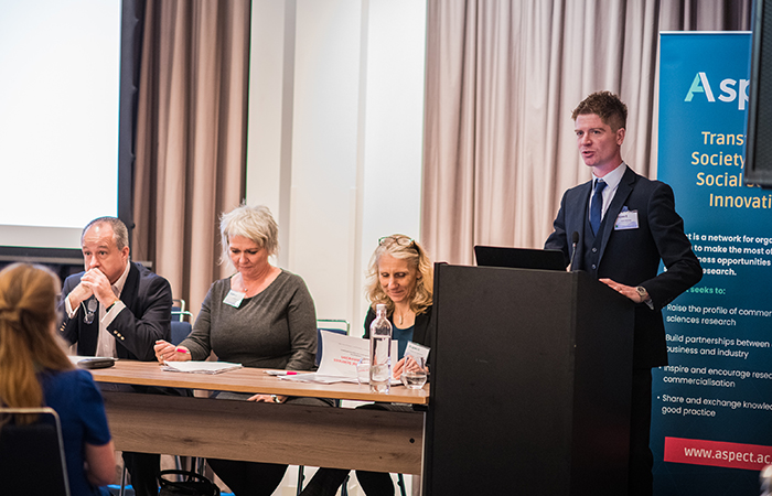 Left to right: Prof Andrew James, University of Manchester; Prof Colette Fagan, University of Manchester; Prof Julia Black, London School of Economics and Political Science; Adam Winship, University of Manchester.